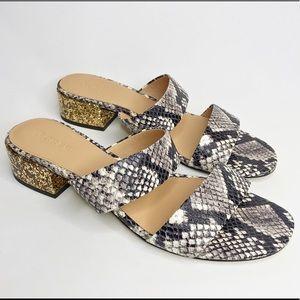 J.Crew Two- Strap Slide Sandals in Snake Skin